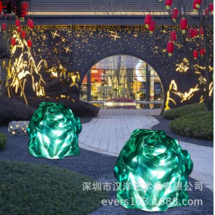 简约酒店大堂透明树脂雕塑摆件售楼处大厅发光透明石头装饰工艺品