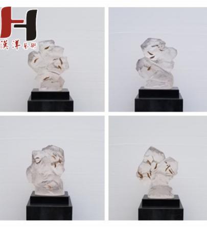 定制透明树脂仿山石雕塑摆件酒店别墅样板房软装饰品工艺品摆件