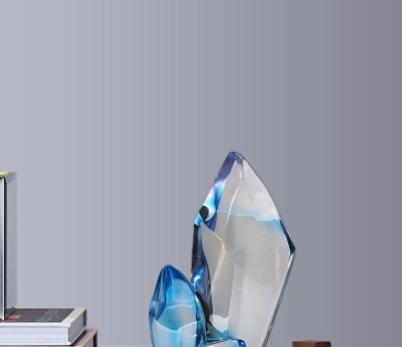 透明新款树脂仿水晶艺术品家居酒店玄关装饰品摆饰工艺品