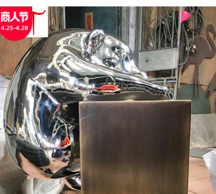 专业定制 不锈钢熊猫雕塑 公园绿地景观雕塑摆件 动物雕塑