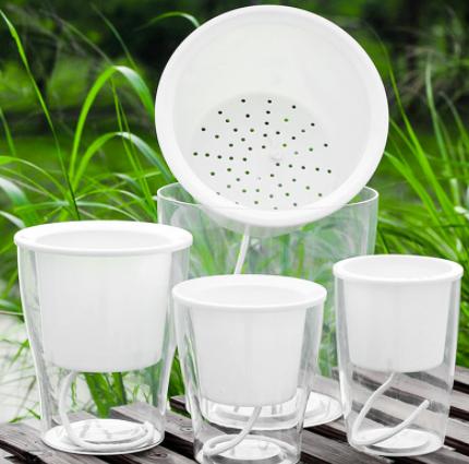 无土栽培盆景盆树脂自吸水花盆透明塑料花盆绿萝盆栽植物塑料花盆