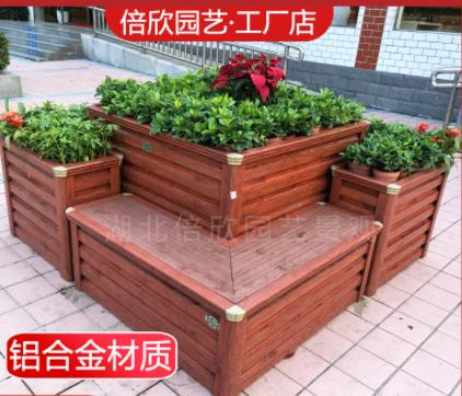 道路座椅组合铝合金花箱 户外公园商业街绿化隔离 厂家定制直销