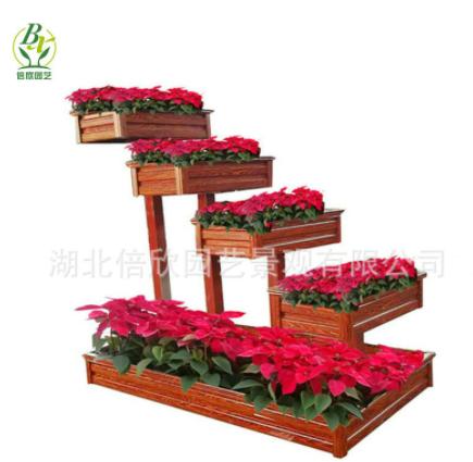铝合金仿木纹花箱植物种植花槽 道路绿化隔离花箱艺术型花箱组合